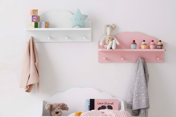 Flexi Storage Kids Cloud Floating Shelf With Hooks White in a kids room