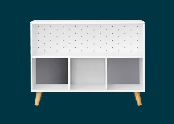 Kids Cube Storage Unit With Legs Grey Stars