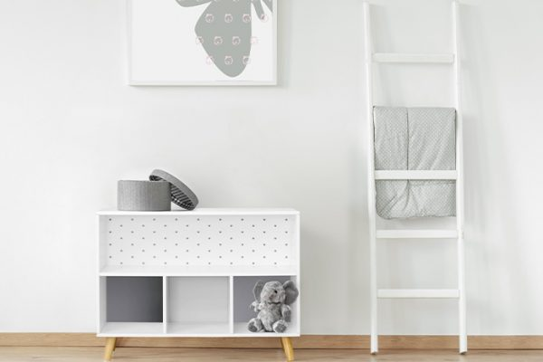 Flexi Storage Kids Cube Storage Unit With Legs Grey Stars in a kids room