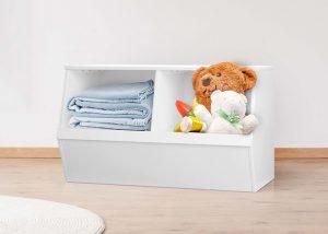 Flexi Storage Kids Double Storage Box White in a kids room