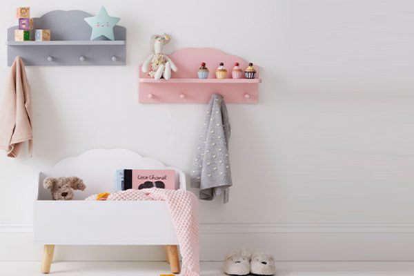Flexi Storage Kids Open Cloud Toy Chest White in a kids room