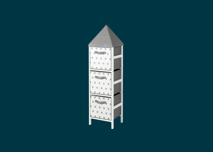 Kids Storage Tower Grey Stars