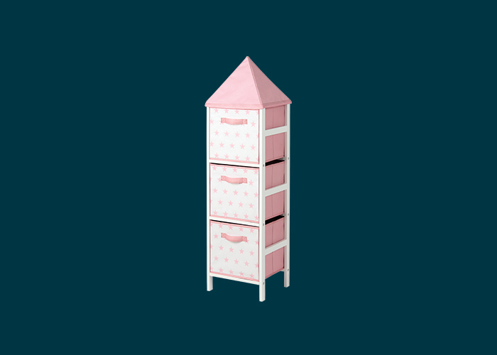 Kids Storage Tower Pink Stars
