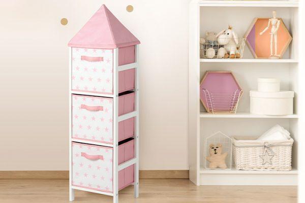 Flexi Storage Kids Storage Tower Pink Stars in a kids room