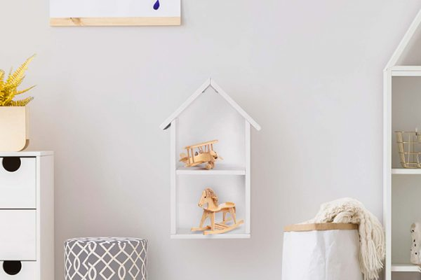 Flexi Storage Kids Toy House Shelf White in a kids room